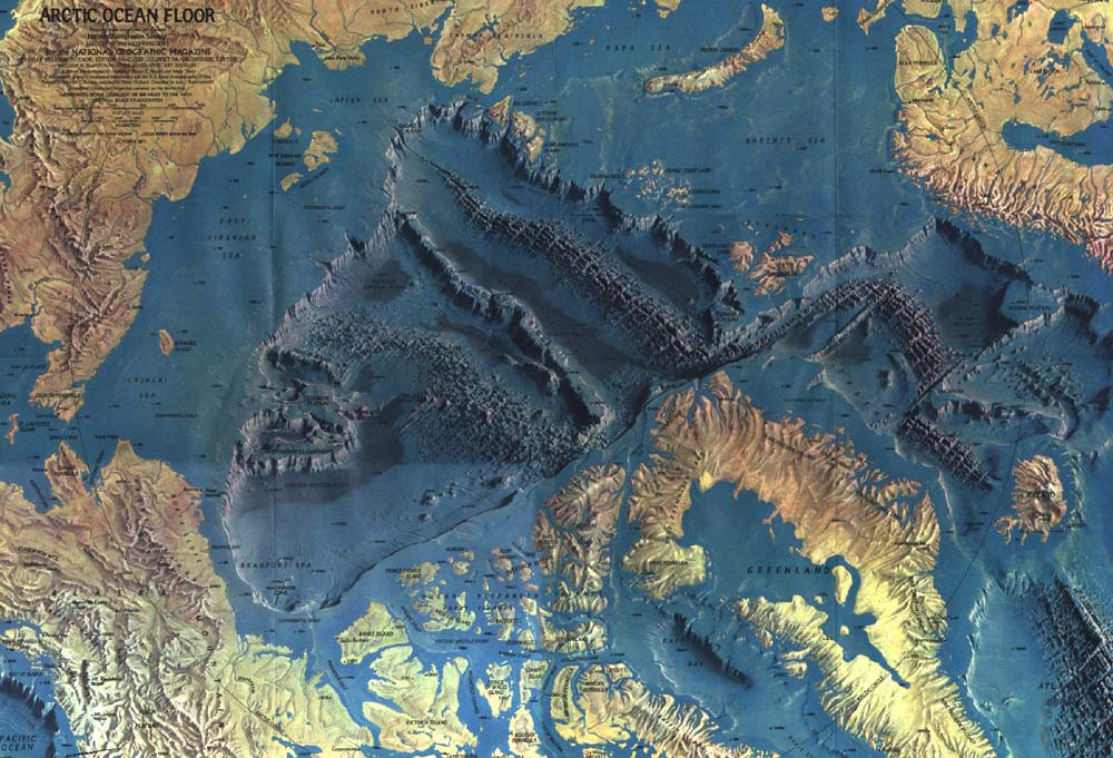 Arctic Ocean Floor Topographical map of t...